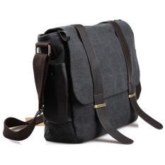 Beli Tas Selempang Pria Korean Canvas Messenger Bag Black Gray