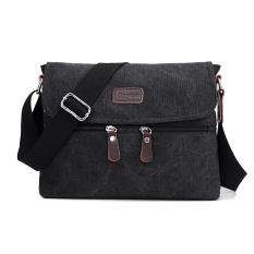 Ulasan Lengkap Tas Selempang Slempang Kanvas Pria Impor Import Slingbag Sling Bag Black