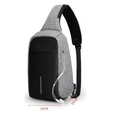 Tas Slempang Anti Maling Non USB With Port Earphone Waterproof - Abu
