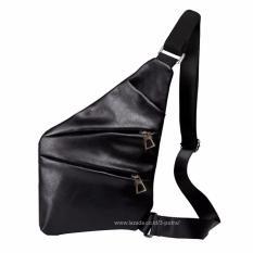 Tas Slempang Anti Maling ( Anti Thief ) Messenger Bags Sling Bags Leather Fashion ( 3P Fashion Leather Sling Bag  ) - Black
