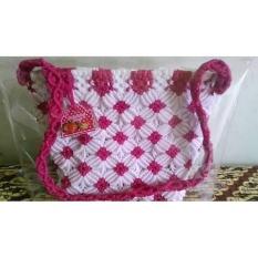 Review Tas Tali Kur Unik Elegan Ready Pink Dan Putih Dengan Furig Dari Kain Satin Resleting Ykk Oem