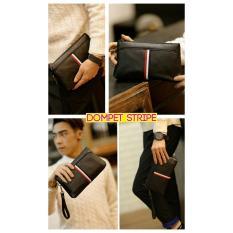 Tas Tangan Pria Hand Bag Clutch Korea Impor Kulit Stripe Handbag Clutch Kulit 6034