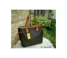 Tas Tote Fashion Wanita Branded Lois Vuitton LV Neverfull Monogram