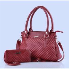 tas wanita model terbaru / tas wanita plus dompet cantik fkn 005 / tas slempang wanita / tas cincing cewek murah warna merah - kuliah kampus