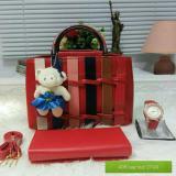 Jual Tas Wanita Paket 3 In 1 High Quality Pu Leather Korea Elegant Bag Style Wallet Jam Tangan Branded Baru