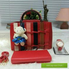 Promo Tas Wanita Paket 3 In 1 High Quality Pu Leather Korea Elegant Bag Style Wallet Jam Tangan Branded Vicria