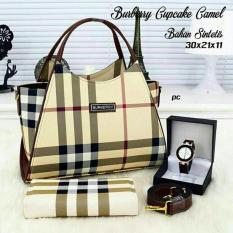 Beli Tas Wanita Paket 3 In 1 High Quality Pu Leather Korea Elegant Bag Style Wallet Jam Tangan Branded Tas Fashion Asli