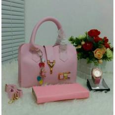 Tas Wanita Paket 3 in 1 - High Quality PU Leather Korea Elegant Bag Style + Wallet  & Jam Tangan Branded
