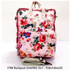 Tas Wanita Ransel Fashion Backpack DIAPERS 3in 1 178 - 11Pink Floral