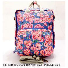 Tas Wanita Ransel Fashion Backpack DIAPERS 3in 1 178 - 8  Ungu FLoral