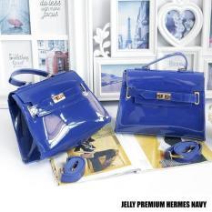 Tas Wanita Sling Bag Jelly Premium Hermes - Navy