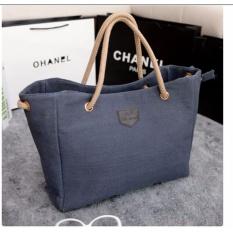 Korean Fashion Style Tas Wanita Batam Tote Bag Canvas Korea Import - Blue