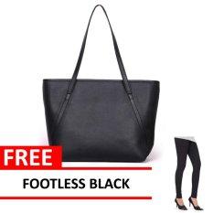 Diskon Tas Wanita Women Fashion Pu Tote Leather Handbags Shoulder Bags Black Free Legging Footless Black