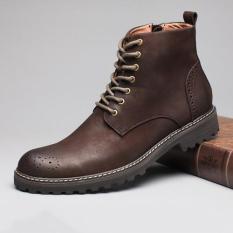 Penawaran Istimewa Tauntte Sapi Berkualitas Tinggi Asli Martin Boots Retro Brogues Ukiran Boots Bunga Eropa Formal Ankle Boots Kopi Intl Terbaru