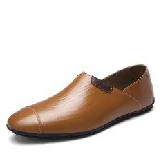 Spek Tauntte Bernapas Baru Asli Kulit Sepatu Pria Slip Ons Sepatu Kasual Ukuran Lebih Coklat Intl Tauntte