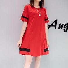 TB Korea Korea Fashion Ukuran Besar Gaun Merah-Internasional