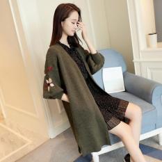 Tb Versi Korea Dari Bagian Panjang Bordir Longgar Cardigan Sweater Lantern Sleeve Slit Pocket Hijau Intl Original