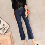 Tb Ladies Fringed Denim Flares Biru Intl Murah