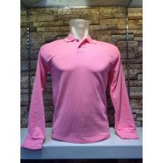 TBK fashion - Kaos Berkerah Polo Shirt Polos M L XL Lengan Panjang Atasan Pria Cowo Lacos Fashion Simple Keren Formal Casual Bagus Murah Elegant - Pink Baby