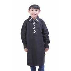TDLR Baju Muslim Anak Laki-laki / Baju Koko Anak Laki-laki - Bahan Poplin - Stripe Neck Kurta - TGG 1025