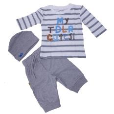 TDLR TGP 0163 baju stelan bayi - bahan cotton combed - lucu dan bagus (White)