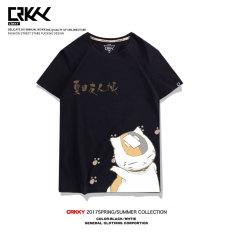 Teman Kapas Akun Lengan Bang Pendek Kucing Kaus (Hitam Natsume Guru Kucing Ehr) Baju Atasan Kaos Pria Kemeja Pria