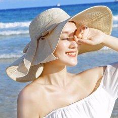 Sepuluh. F 2017 New Anti-UV Hat, Wanita Korea Lipat Sun Hat, Topi Matahari Pantai, Fashion Leisure Straw Hat (Black Side)-Intl