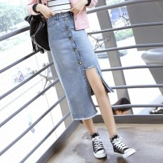Beli Sepuluh F 2017 New College Angin Denim Rok Perempuan Rok Single Breasted High Waist Long Rok Intl Seken