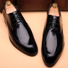 Harga Terbaru 2016 Sepatu Datar Sepatu Oxford Pria Gaun Pesta Pernikahan Sepatu Kulit Asli Sepatu Hitam International Cyou Asli