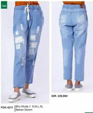 Terbaru..Celana Jeans Wanita Motif Sobek-Biru Muda Terbaru Tali GF Ori