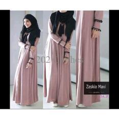 Terbatas Baju Muslim Zaskia Gamis Set Maxi Busui Sleting- Free Pashmina Murah Modern
