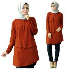 TERLARIS!!! [Blouse Anisa Bata SW] blouse wanita rayon bangkok merah bata / atasan wanita terbaru / atasan wanita muslim / atasan wanita lengan panjang / atasan wanita murah