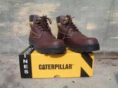TERLARIS Sepatu Pria Boots Safety TERMURAH Sepatu Safety Boots Murah CATERPILLAR Coklat Kulit Licin