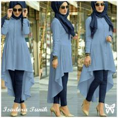 Spesifikasi Lf Terusan Muslim Isabel Jumpsuit Baju Muslim Tunik Muslim Panjang Good Quality Adorais Ss Blue D2C Murah
