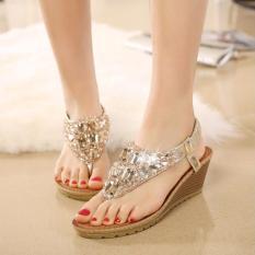 Diskon Tf Bohemia Wedge Sepatu Wanita Eropa Dan Amerika Diamond Sandal Jepit Sandal Emas Intl Oem Di Tiongkok