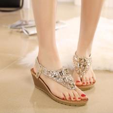 Tf Bohemia Wedge Sepatu Wanita Eropa Dan Amerika Diamond Sandal Jepit Sandal Perak Intl Tiongkok Diskon 50