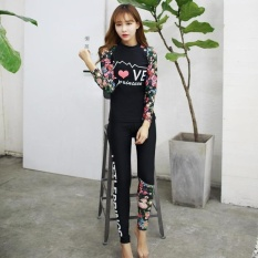TF Korean new sport diving suit Two-piece printed fashion longsleeve long pants swimsuitBlack   - intl