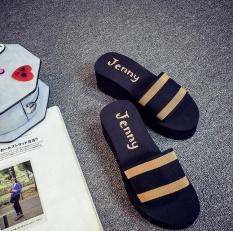 TF LADIES Gaya Baru Sandal Gaya Korea Fashion Wedges Platform Slides (Hitam dan Kuning)-Intl