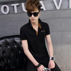 Tf Pria Tren Mode T Shirt Setengah Lengan Membuat Bergaris Atas Hitam Orange Collar Intl Int M Asli