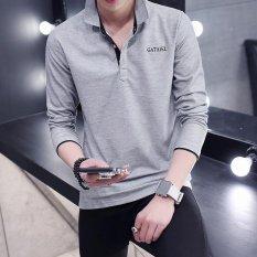 TF Pria Baru Fashion Lengan Panjang Polo Shirt (Abu-abu)-INTL (Int: M)