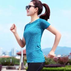Miliki Segera Perempuan Tf Sport Pakaian Set Yoga Kain T Shirt Latihan Kebugaran Menjalankan Pakaian Cepat Pengeringan Pakaian Biru Intl