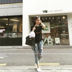 TF Wanita jeans Temukan Lubang jeans Fashion Paint (biru Muda)-Intl