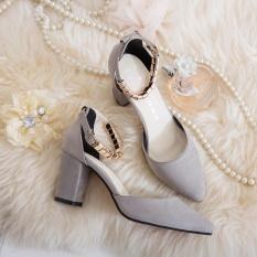 TF Wanita Baru Pompa Gaya Korea Fashion All-Match Bertumit Tinggi Sepatu Gesper Sandal Menunjuk Sepatu (Grey) -Intl