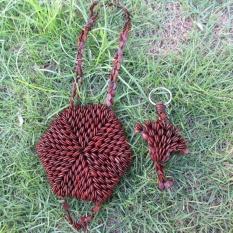 Thailand Hand Knitting Pure Plant Fibers Fashion Women Bags Hexagon Sandalwood Bracelet Sachet Jewellery Accessories - intl
