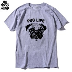 THE COOLMIND Top Quality 100% Cotton Short Sleeve Pug Printed Men T Shirt Casual O-neck Comfortable Fabric 002 (Grey)