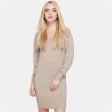 Miliki Segera Fashion Lady Pakaian Rajut Wanita Slim Lengan Panjang Sweater Musim Gugur Musim Dingin Rajutan Pullover Sweater Gaun Satu Ukuran Khaki