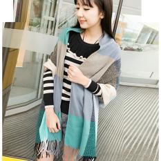 Fashion Musim Dingin Wol Syal Wanita Scarf Plaid Tebal Selendang Scarves (biru)