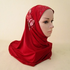 National Womens Headscarf Ditutupi dengan Es Thread HIjaband Malaysia Bordir Topi Merah-Intl