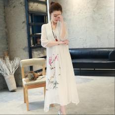 Baru Women Empowerment Longgar Dan Elegan Angin Mengembalikan Cara Kuno Off Dua Wanita Gaun Panjang Tide Di Printing Cotton Dan Linen Putih Intl Terbaru