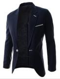 Harga Baru Ringkas Pure Slim Kecil Suit Single Breasted Suit Coat Navy Blue Paling Murah